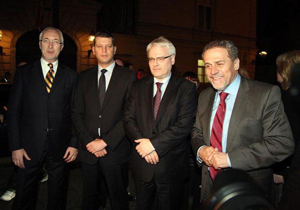 Veljko Marton, Jasen Mesić, Ivo Josipović i Milan Bandić (Foto: Saša Zinaja /Medijska mreža)