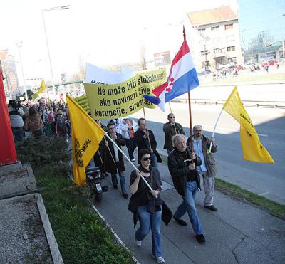 prosvjed potpore novinarima Večernjeg lista (Foto: Saša Zinaja /Medijska mreža)