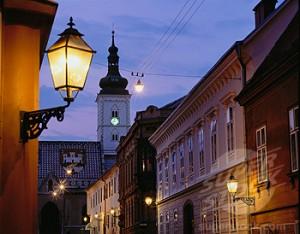 Croatia, Zagreb, Gornji Grad, Upper Town area at dusk
