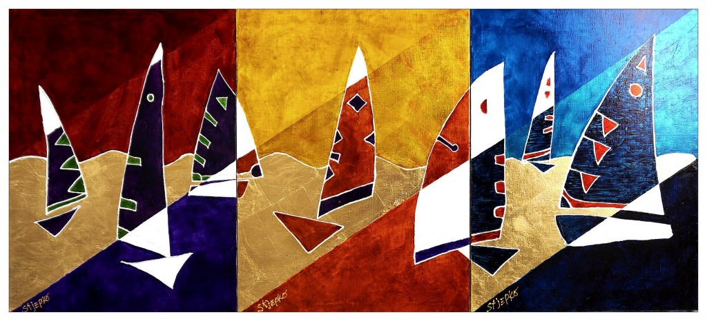 1 Triptych SAILS, acrylics over golden leaves on linen canvas, size 80 x 60 each a threepcs Year 2014